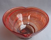 Hand Blown Art Glass Heart Shape Candy,Fruit Bowl