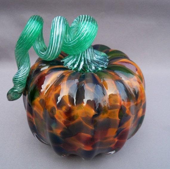 SALE - Hand Blown Art Glass Pumpkin