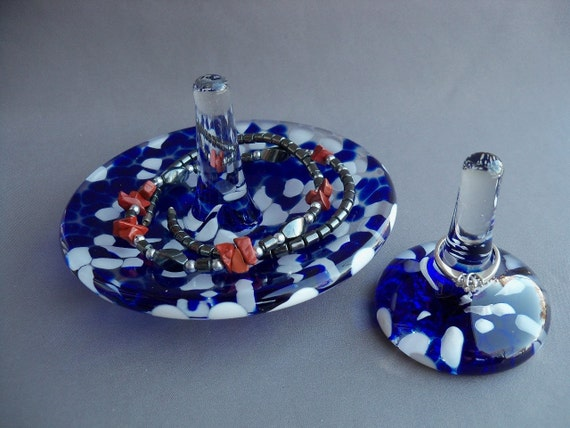 Hand Blown Art Glass Jewelry Tray and Ring Holder -Set of 2