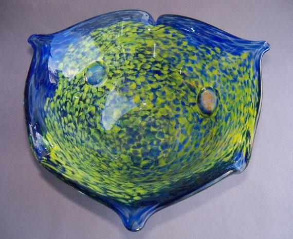 Hand Blown Art Glass Candy Bowl