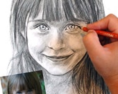 Custom Child Portrait Drawn in Charcoal Commissioned from Photos