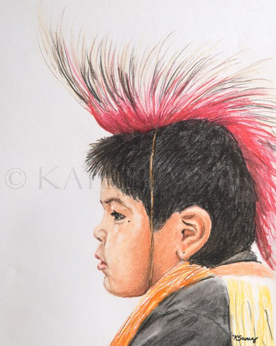 Native American Boy with Headdress Pastel on Paper