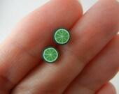 SALE SALE SALE Polymer Clay Lime stud earrings