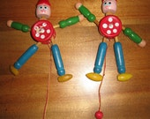 1960's Wooden Jumping Jack Ornaments/Toys