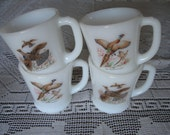 Set of 4  Pheasant & Grouse Milk Glass Cups 1960s