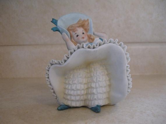 1970s Lefton Blue Bloomer Girl Figurine
