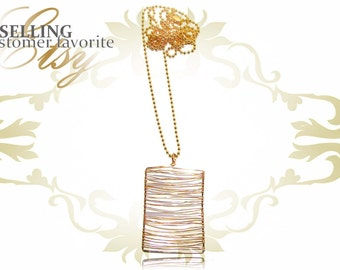 Gold Wire Dog Tag Necklace, H8-24