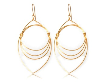 Wire Wrapped Graphic Eye Shape Earring, S10-62