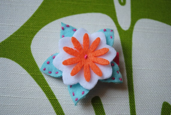 Hand-stitched and layered felt flower alligator hair clip