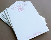 1 COLOR Customizable Stationery- Letterpress Printed 4bar Flat Notes QTY/65