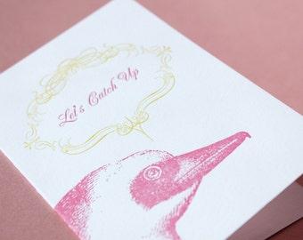 SALE Let's Catch Up-Letterpress Printed Single Blank Card