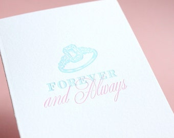 SALE Forever and Always-Letterpress Printed Single Card