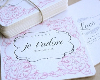 Je T'Adore Letterpress Printed 2-Color Coasters QTY/10