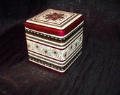 DECORATIVE TIN w hinged lid- ornate design- from Cook's Tea Bags of Ohio