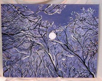 Art, Painting, Acrylic, Trees, Full Moon,Midnight Snow Scene, 28x22 inches