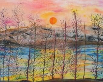 Art, Painting, Silk Art, Fine Art, Framed, 29x25inches, Shawnee River On Silks