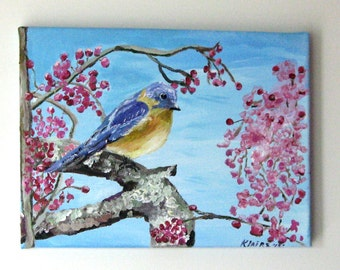 Art,&Collectibles, Painting,Acrylic, Fine Art,Wrapped Canvas, Mr Bluebird,Wall Art,12x9