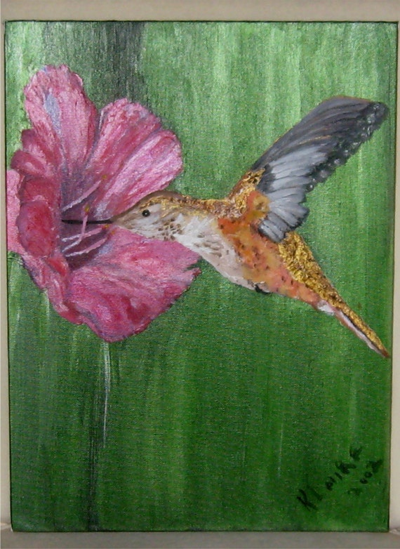 Original Painting,Fine Art,Hummingbird,12x16 inches, Garden