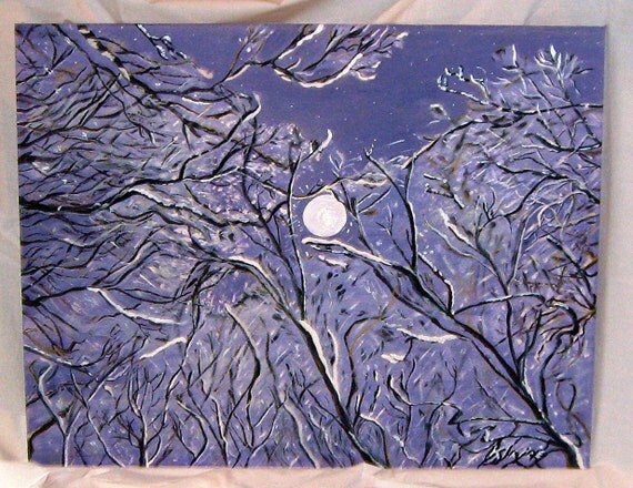 Art, Collectables,Painting,Acrylic, Trees,Full Moon, Night Snow Scene,Snow Angels View,28x22inches