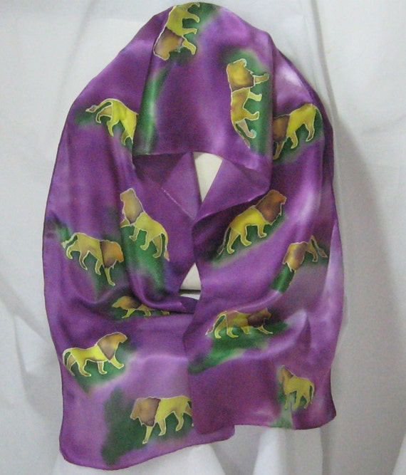 Accessories,, Silk Scarf, Silk Scarves, Silk Satin, Womans Fashion,Africa, The Roar of Lions-RESERVED For LR