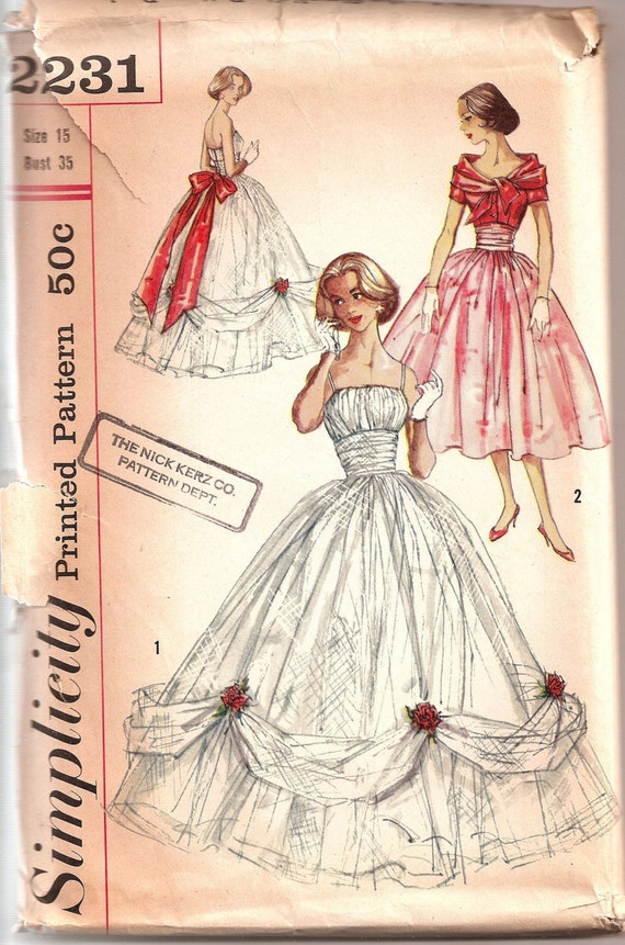 Vintage 1950s Simplicity Ball Gown Pattern 2231