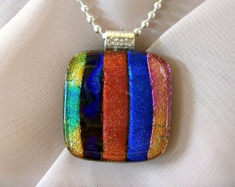Fused Dichroic Glass Pendant and Necklace - Fun Colors and Stripes - Dichroic - Dicro - Fused Glass Jewelry, Dichroic Pendant