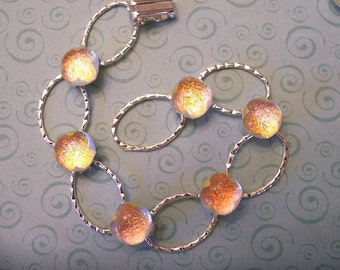 Fused Dichroic Glass Bracelet and Two Sets of Earrings,Glowing Sunset, Dichroic Jewelry, Set