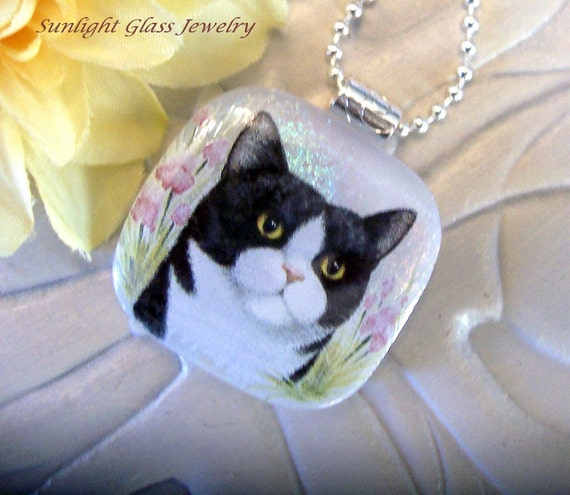 Pretty Kitty Fused Dichroic Glass Pendant and Necklace