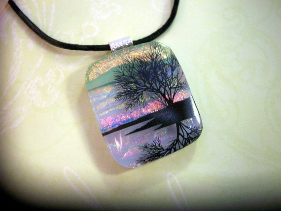 Fused Glass, Natures Reflections, Fused Dichroic Glass Pendant, Necklace, Tree, Sunset, Fused Pendant, Dichroic Jewelry