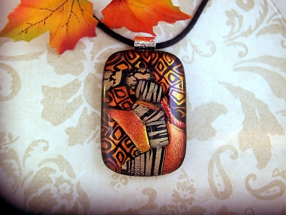 Dichroic Glass Pendant, Hodgepodge, Fused Glass, Dichroic Jewelry, Fused Jewelry