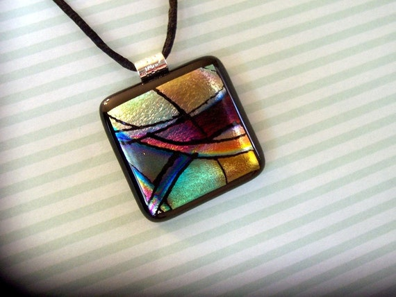 Mardi Gras, Fused Glass Pendant, Dichroic Jewelry, Fused Necklace, Dicro, Colorful