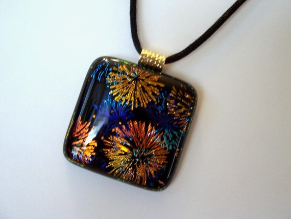 Fireworks 4 Fused Dichroic Glass Pendant, Dichroic Fused Necklace, Fused Jewelry, Dichroic Cabochon
