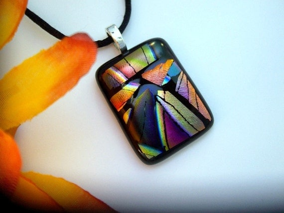 Dichroic Pendant, Shades of Fall, Fused Glass Jewelry, Dichroic Necklace