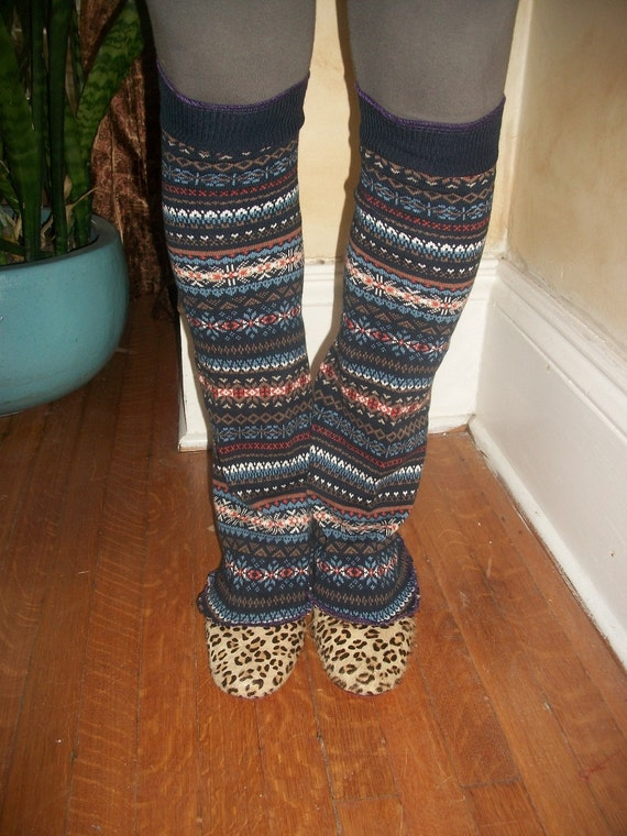 Harry and the Hippie Chic Upcycled Recycled Reconstructed Ooak Navy Tribal Leg Warmers