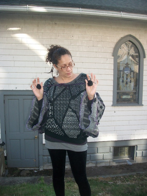Sale was 54.00 Harry and the Hippie Chic Recycled Upcycled ooak Reconstructed Funky Sweater Poncho Top with Pom Poms lg/xl