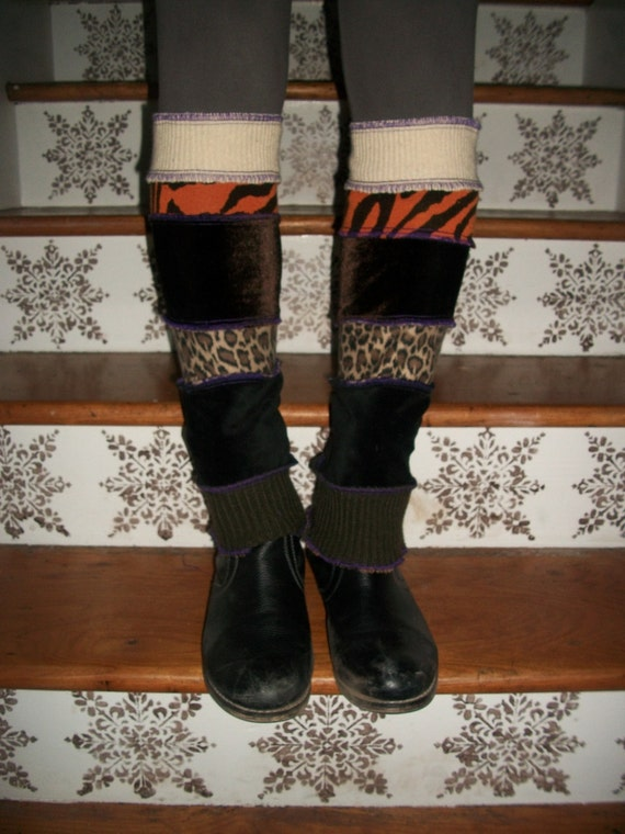 Harry and the Hippe Chic ooak Upcycled Reconstructed Patchwork Sweater Leg Warmers Brown Combo