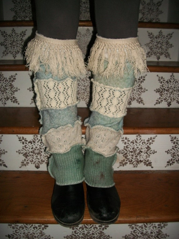 Harry and the Hippe Chic ooak Upcycled Reconstructed Patchwork Hand Dyed Sweater Fringe Leg Warmers