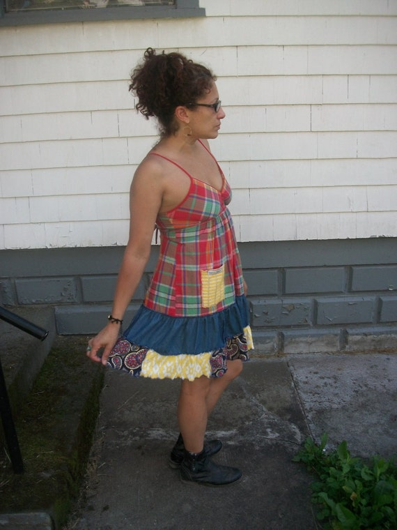 Harry and the HIppie Chic Upcycled Reconstructed Plaid Tank Patchwork Mini Dress Small