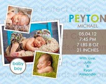 Modern Chevron Birth Announcement - Boy or Girl