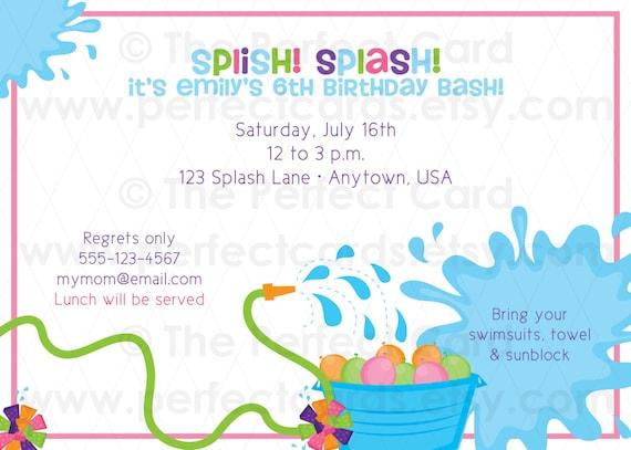 Splish Splash Water Fun - Birthday Party Invite - Girl or Boy