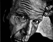 Tom Waits scratchboard print