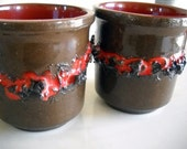 Mid Century GLIT Lava Pottery Cups Iceland Signed