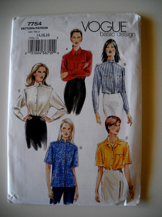 Vogue  7754 Basic Design Misses' Shirt Sizes 14-18 UNCUT