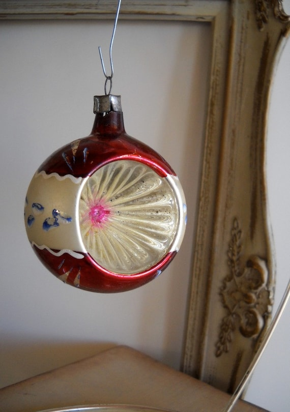 Vintage Glass Christmas Ornament Red with Deep Indent