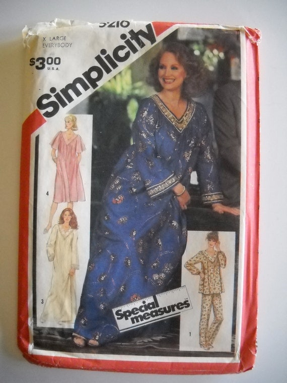 Simplicity 5216 Misses Caftan, Nightgown, or Dress and Pajamas Size X Large UNCUT