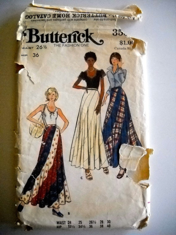 Butterick 3557 Misses Swirl Skirt Size 26.5 UNCUT