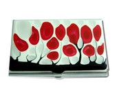 Red Blossom, Black and White Metal Card Case Card Holder Wallet  Hand Painted , Glossy Enamel Finish