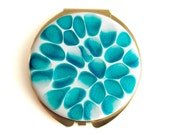 Compact Mirror Round Turquoise and White Blossom Inspired Hand Painted Pocket Mirror Glossy Enamel Finish