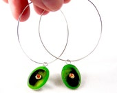 Hoop Earring Drops Lime Green and Black Oval Drops Hand Painted Reversible Earrings with Swarovski Light Siam Crystal