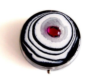 Round Pill Box Hand Painted Enamel Black and White with Fuchsia Jewel MOD Inspired Custom Colors and Personalized Options
